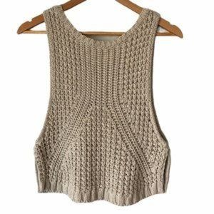 Autumn Cashmere | Crochet Knit Cropped Tank size S